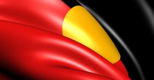 Image of an Aboriginal flag stylised