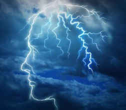 Image - head shape made of lightening