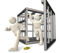 two cartoon people escaping a cage