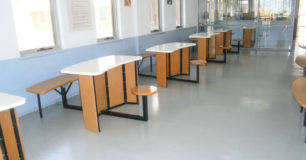 Tables and chairs in the visits centre