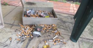 Debris in smoking hut
