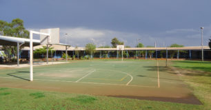 Image of an outdoor Basket Ball court at Roebourne Regional Prison