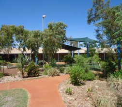 Image of trees, plants and shade areas in Main Grounds at Roebourne Regional Prison