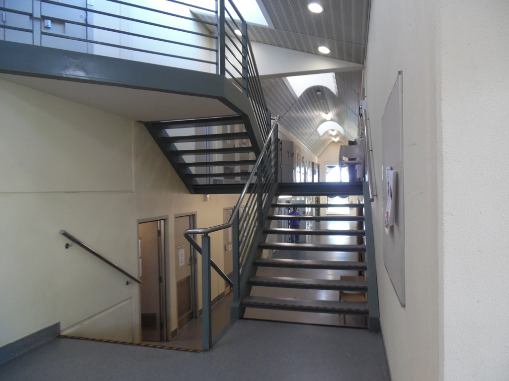 Image of stairs in Unit 2 where pregnant woman gave birth