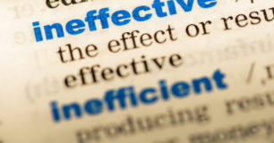 Close-up of the word 'ineffective'