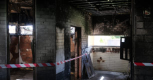 Image of fire damage from another angle to Office in Unit 3