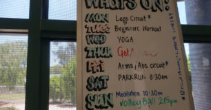 Image of whiteboard of sports activities at Wandoo