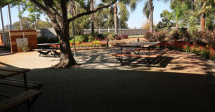 Image of outdoor seating area for staff
