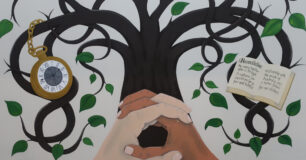 Image of a wall painting by a prisoner in the recreation centre