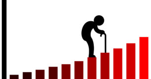 Vector image of graph with icon older person walking up the graph columns