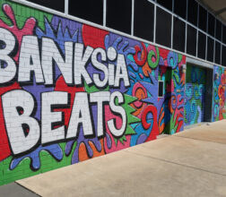 Graffiti art of the name 'Banksia Beats' on wall outside music studio