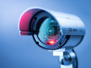 CCTV security camera with red operating light
